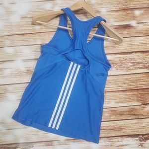 Adidas Blue Stripe Racerback Tank Top Yoga Gym
